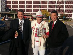 ESPN Karl Ravich - Buster Olney - Carter Cardinal Cowboy Outfit White Cowboy Hat