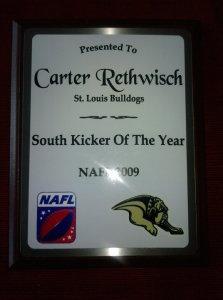NAFL_Kicker_Of_The_Year_Carter_Rethwisch_2009