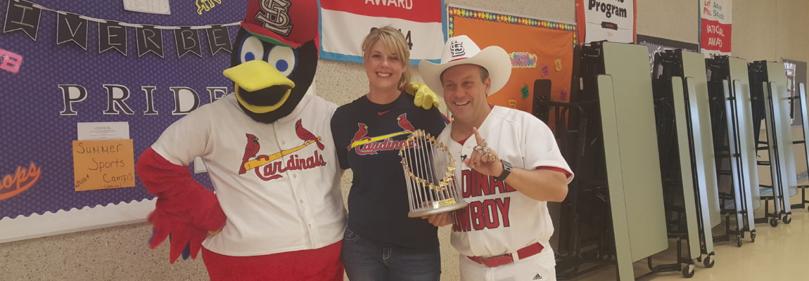 Cardinal Cowboy and Fredbird Pump-Up the Kids at Riverbend Middle School
