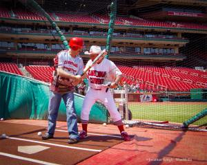 Carter Cardinal Cowboy Giving Batting Tips To George Noory